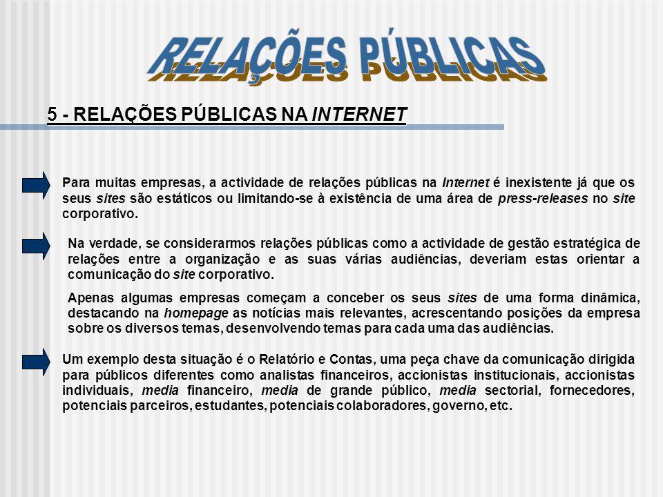 Para muitas empresas, a actividade de relações públicas na Internet é inexistente já que os seus sites são estáticos ou limitando-se à existência de u