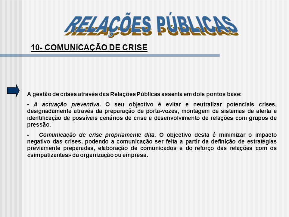 10- COMUNICAÇÃO DE CRISE A gestão de crises através das Relações Públicas assenta em dois pontos base: - A actuação preventiva. O seu objectivo é evit