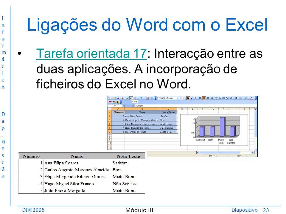 InformáticaDep.GestãoDI@2006Diapositivo Módulo III 23 Ligações do Word com o Excel Tarefa orientada 17: Interacção entre as duas aplicações. A incorpo