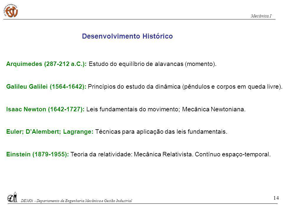 Arquimedes (287-212 a.C.): Estudo do equilíbrio de alavancas (momento). Galileu Galilei (1564-1642): Princípios do estudo da dinâmica (pêndulos e corp