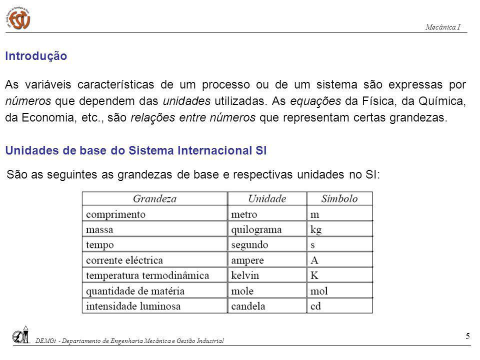 São as seguintes as grandezas de base e respectivas unidades no SI: Unidades de base do Sistema Internacional SI As variáveis características de um pr