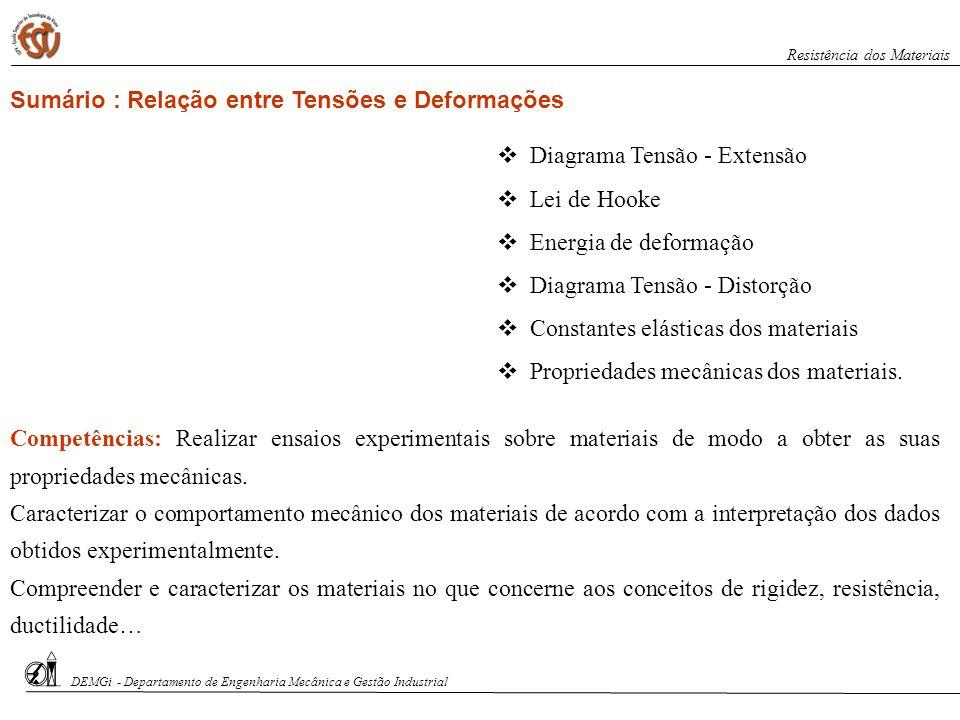 Sumário : Relação entre Tensões e Deformações Competências: Realizar ensaios experimentais sobre materiais de modo a obter as suas propriedades mecâni