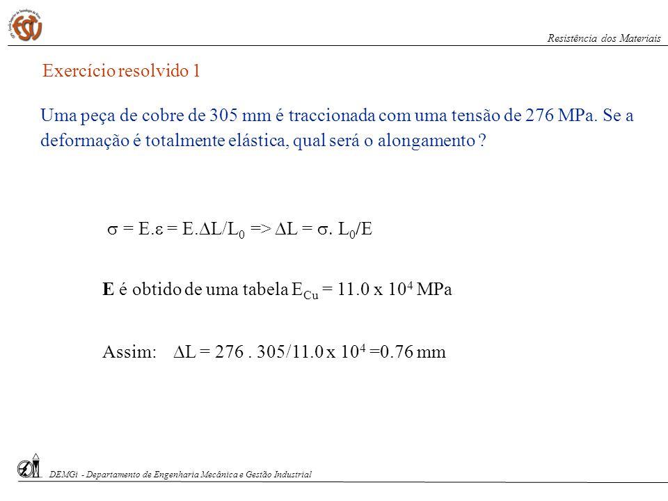 Exercício resolvido 1 = E. = E. L/L 0 => L = L 0 /E E é obtido de uma tabela E Cu = 11.0 x 10 4 MPa Assim: L = 276. 305/11.0 x 10 4 =0.76 mm Uma peça