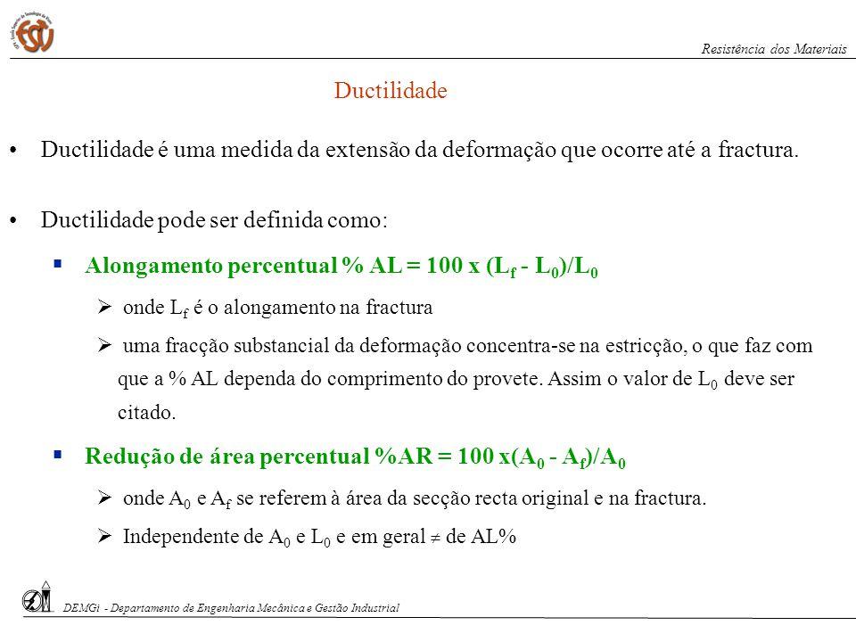 S. Paciornik – DCMM PUC-Rio Ductilidade Ductilidade é uma medida da extensão da deformação que ocorre até a fractura. Ductilidade pode ser definida co