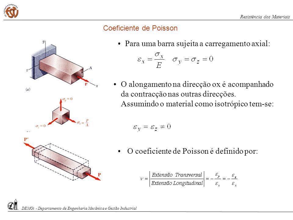 Para uma barra sujeita a carregamento axial: O alongamento na direcção ox é acompanhado da contracção nas outras direcções. Assumindo o material como
