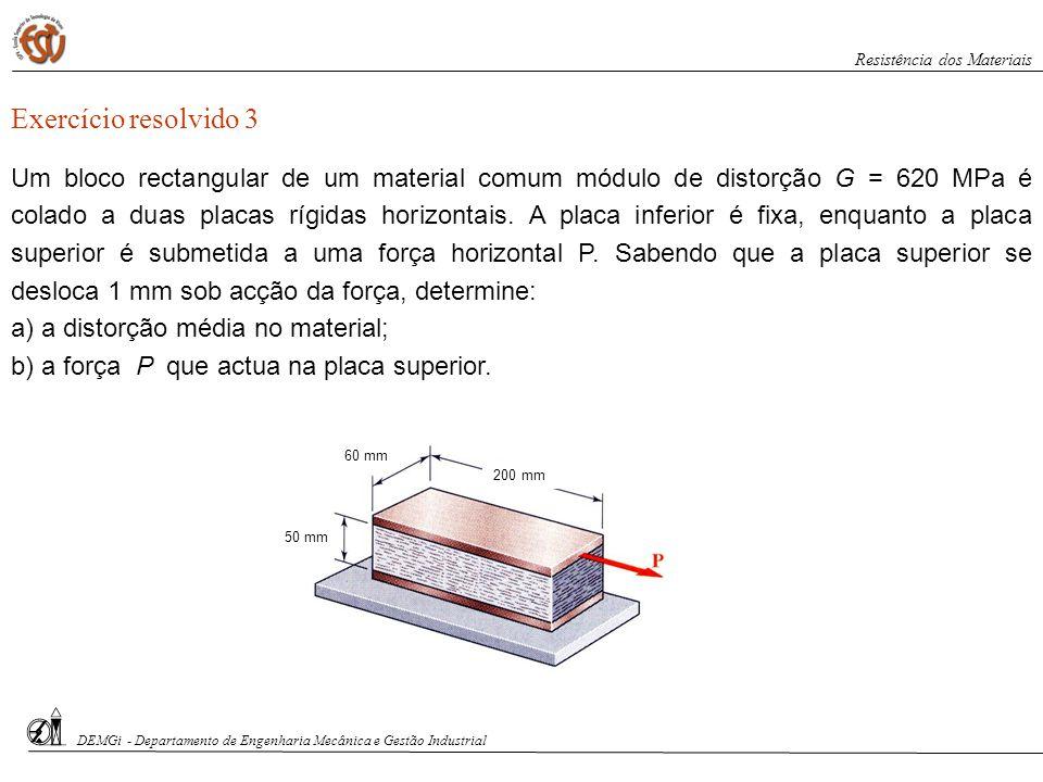 DEMGi - Departamento de Engenharia Mecânica e Gestão Industrial Resistência dos Materiais Exercício resolvido 3 Um bloco rectangular de um material co