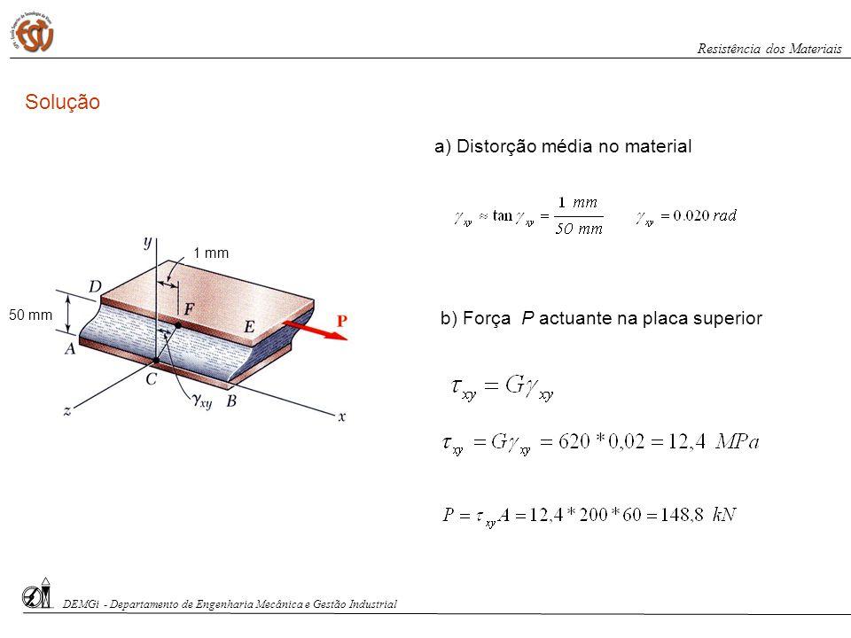 DEMGi - Departamento de Engenharia Mecânica e Gestão Industrial Resistência dos Materiais 1 mm 50 mm Solução a) Distorção média no material b) Força P