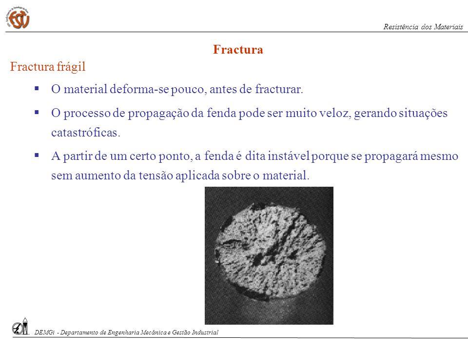S. Paciornik – DCMM PUC-Rio Fractura frágil O material deforma-se pouco, antes de fracturar. O processo de propagação da fenda pode ser muito veloz, g