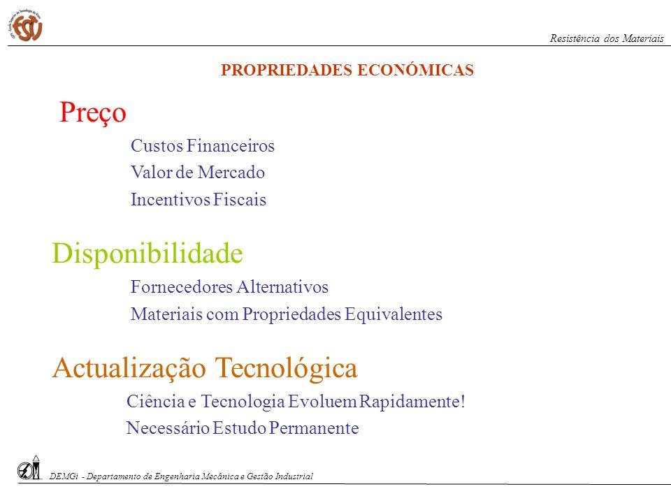 Preço Custos Financeiros Valor de Mercado Incentivos Fiscais Disponibilidade Fornecedores Alternativos Materiais com Propriedades Equivalentes Actuali