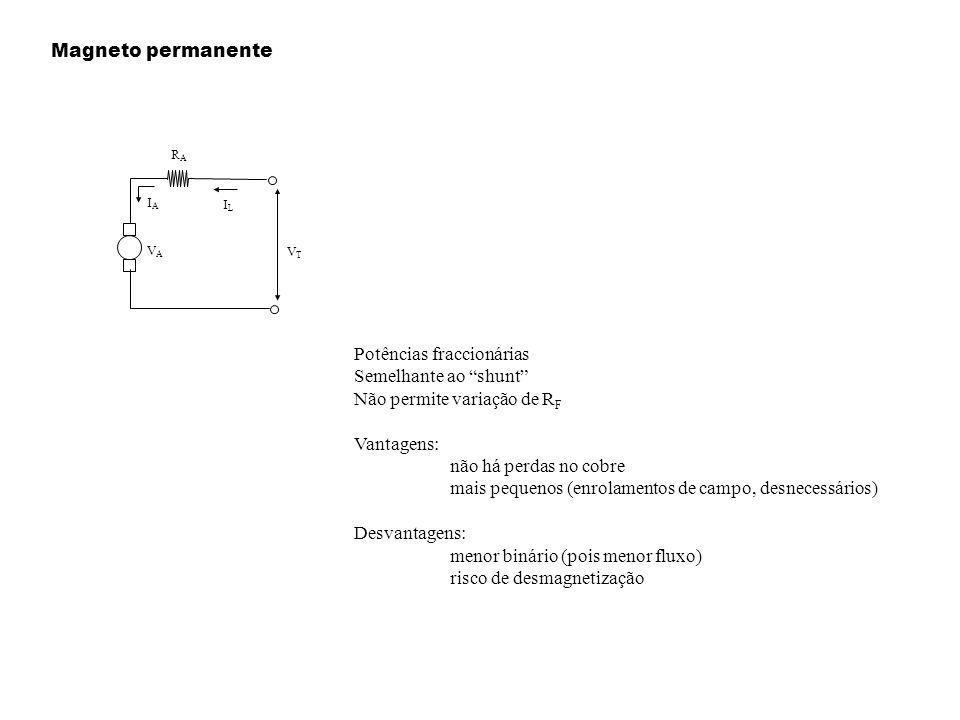 Magneto permanente Potências fraccionárias Semelhante ao shunt Não permite variação de R F Vantagens: não há perdas no cobre mais pequenos (enrolament