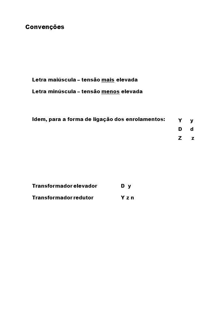 Letra maiúscula – tensão mais elevada Letra minúscula – tensão menos elevada Idem, para a forma de ligação dos enrolamentos: Y y D d Z z Transformador elevadorD y Transformador redutorY z n Convenções