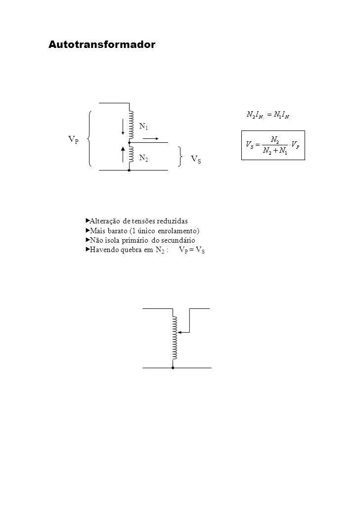 VPVP VSVS N1N1 N2N2 Alteração de tensões reduzidas Mais barato (1 único enrolamento) Não isola primário do secundário Havendo quebra em N 2 :V P = V S Autotransformador