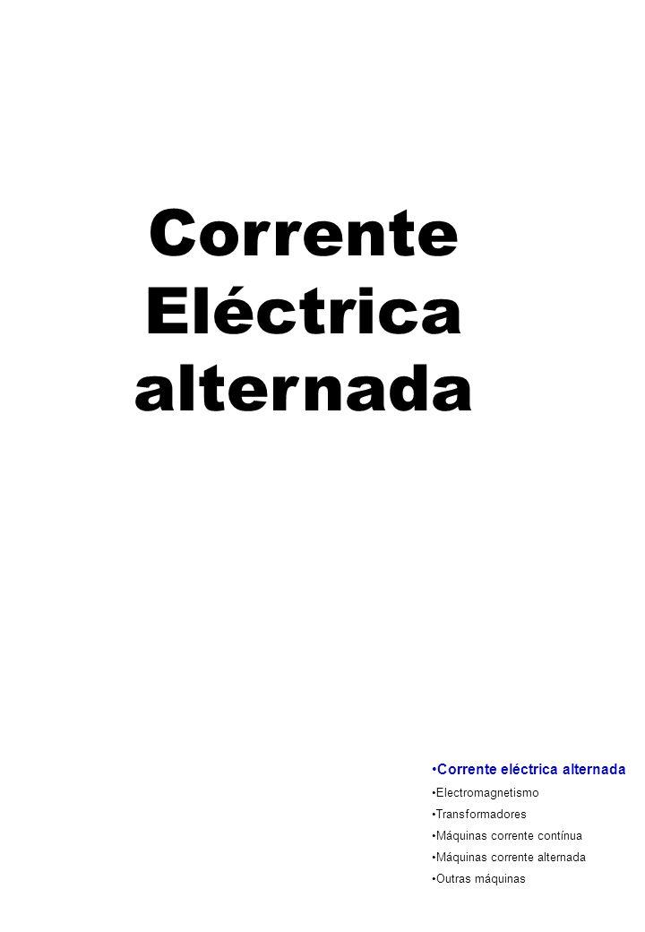 Corrente Eléctrica alternada Corrente eléctrica alternada Electromagnetismo Transformadores Máquinas corrente contínua Máquinas corrente alternada Out