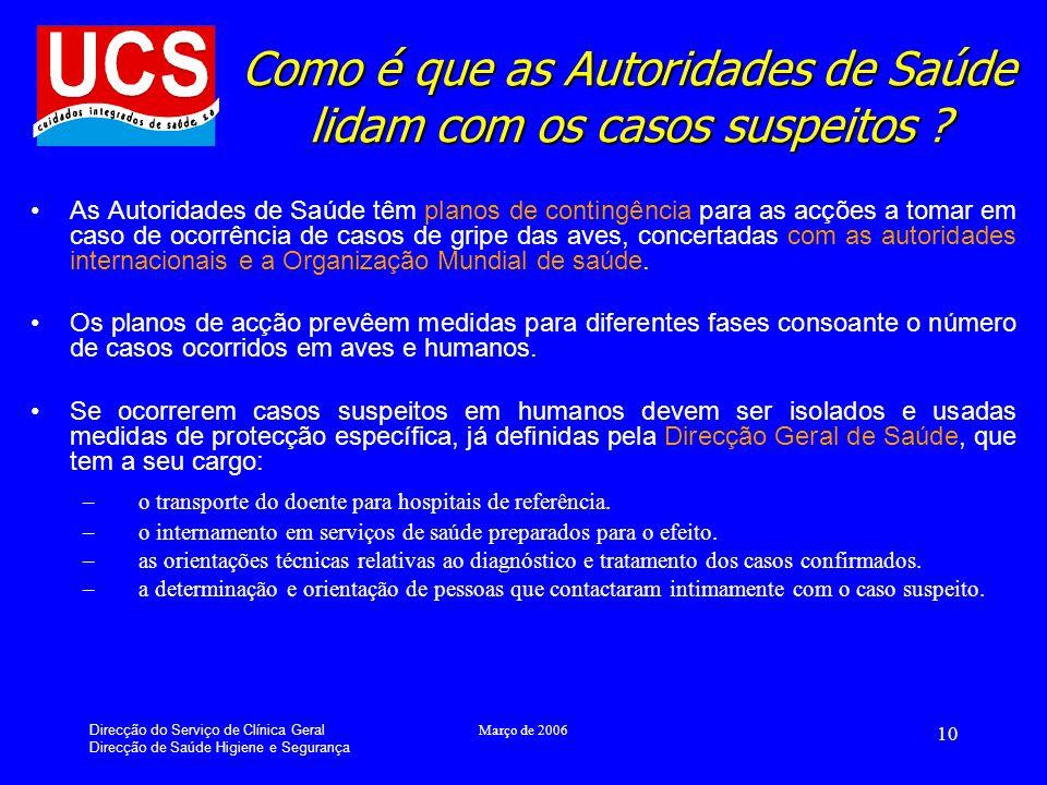 Direcção do Serviço de Clínica Geral Direcção de Saúde Higiene e Segurança Março de 2006 10 Como é que as Autoridades de Saúde lidam com os casos suspeitos .