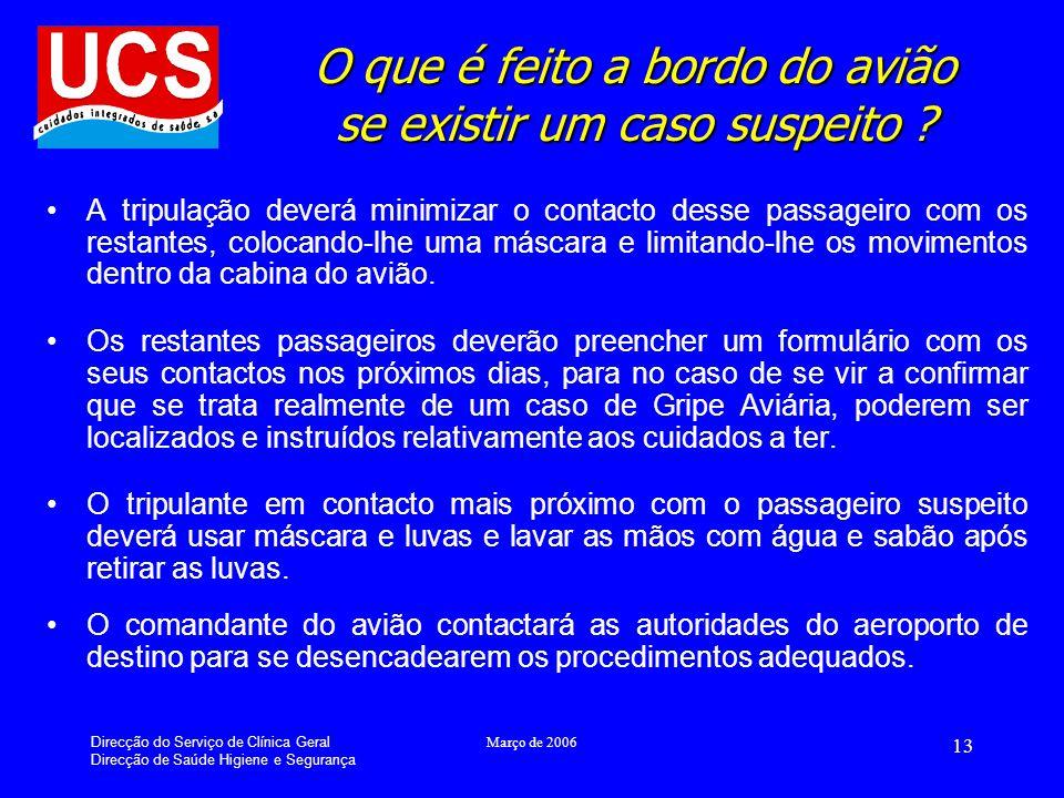 Direcção do Serviço de Clínica Geral Direcção de Saúde Higiene e Segurança Março de 2006 13 O que é feito a bordo do avião se existir um caso suspeito .