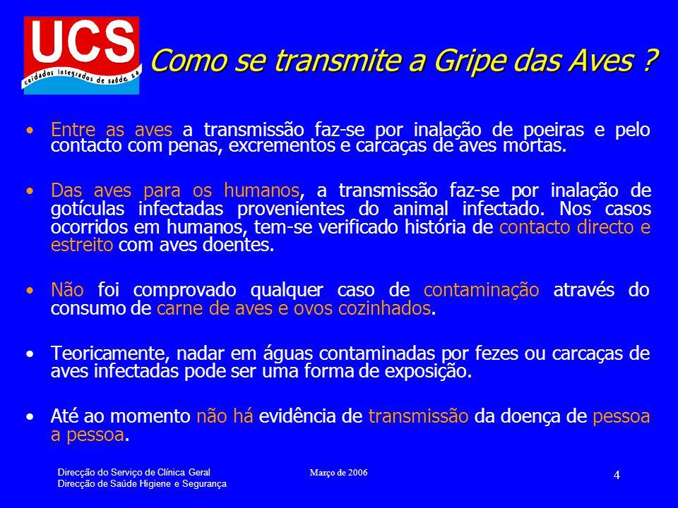 Direcção do Serviço de Clínica Geral Direcção de Saúde Higiene e Segurança Março de 2006 15 Resumindo...