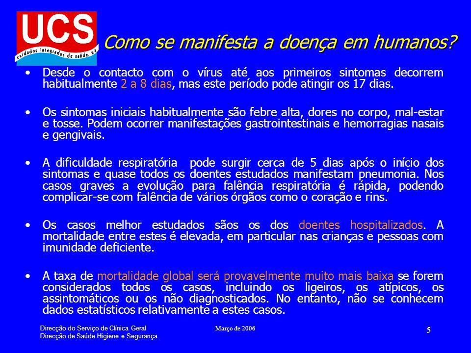 Direcção do Serviço de Clínica Geral Direcção de Saúde Higiene e Segurança Março de 2006 16 Para mais informações… www.dgs.pt www.dgv.min-agricultura.pt www.who.int www.cdc.gov www.iata.org Linha Saúde Pública 808 211 311