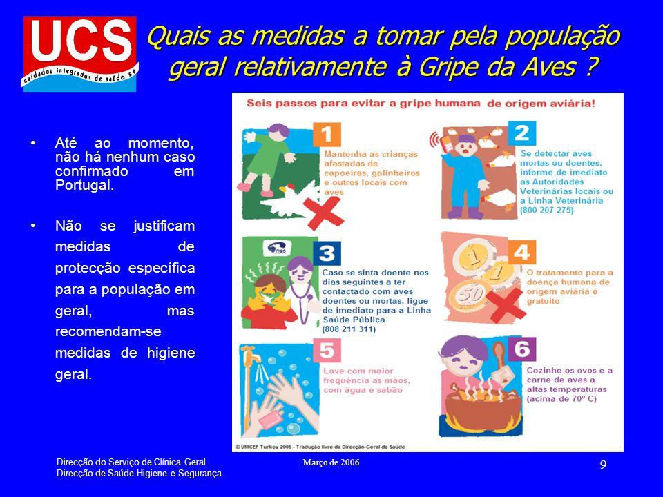 Direcção do Serviço de Clínica Geral Direcção de Saúde Higiene e Segurança Março de 2006 9 Quais as medidas a tomar pela população geral relativamente à Gripe da Aves .