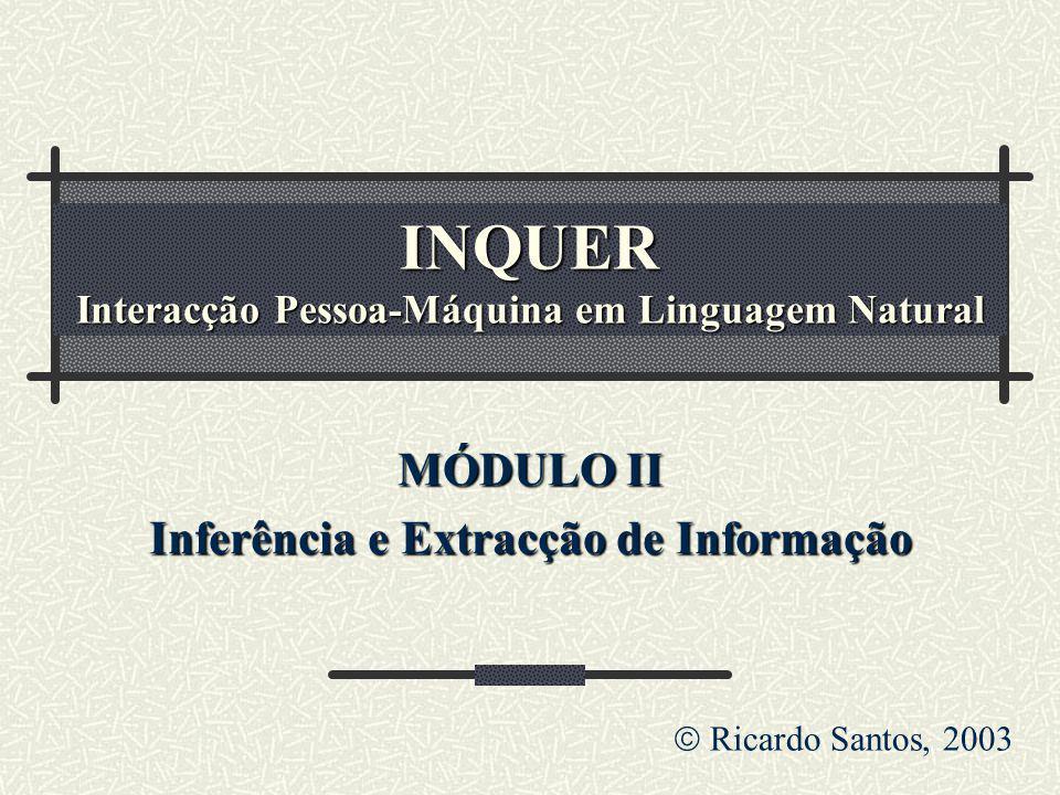 INQUER Interacção Pessoa-Máquina em Linguagem Natural MÓDULO II Inferência e Extracção de Informação Ricardo Santos, 2003