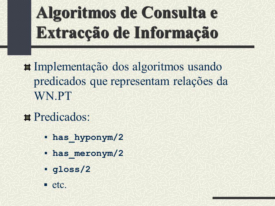 Algoritmos de Consulta e Extracção de Informação Implementação dos algoritmos usando predicados que representam relações da WN.PT has_hyponym/2 has_me