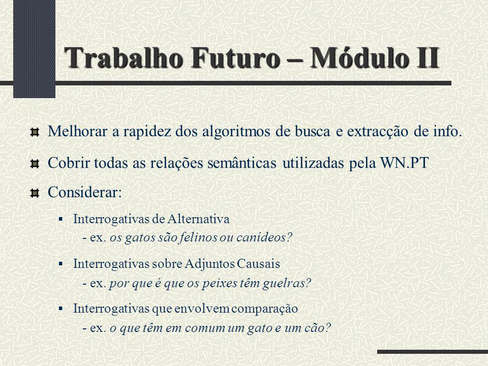 Trabalho Futuro – Módulo II Melhorar a rapidez dos algoritmos de busca e extracção de info. Cobrir todas as relações semânticas utilizadas pela WN.PT