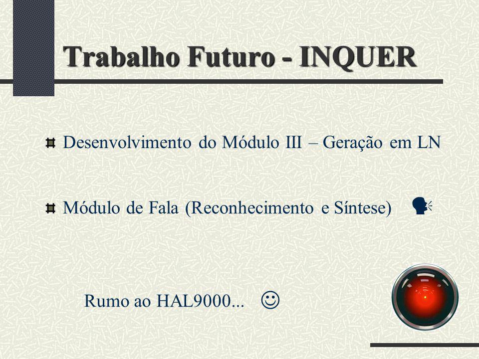 Trabalho Futuro - INQUER Desenvolvimento do Módulo III – Geração em LN Rumo ao HAL9000... Módulo de Fala (Reconhecimento e Síntese)