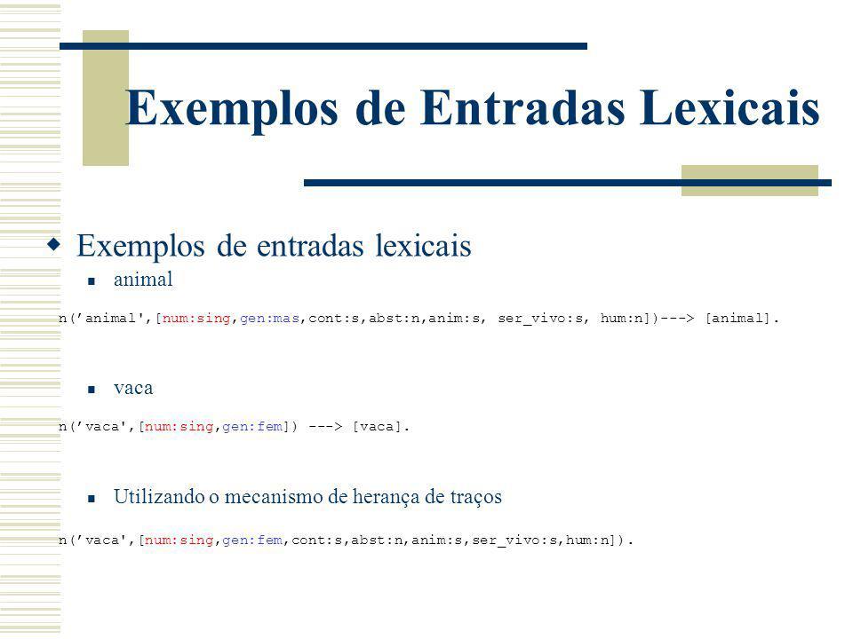 Exemplos de Entradas Lexicais Exemplos de entradas lexicais animal vaca n(animal',[num:sing,gen:mas,cont:s,abst:n,anim:s, ser_vivo:s, hum:n])---> [ani