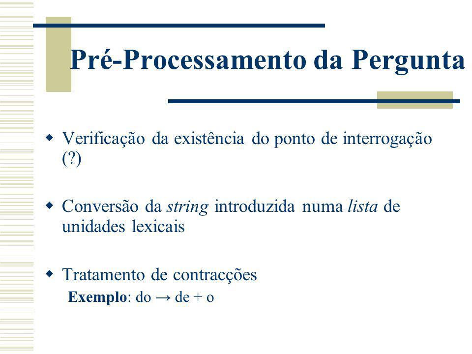 Pré-Processamento da Pergunta Verificação da existência do ponto de interrogação (?) Conversão da string introduzida numa lista de unidades lexicais T