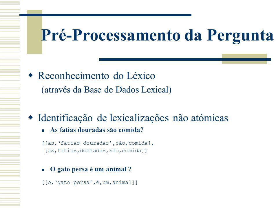Pré-Processamento da Pergunta Reconhecimento do Léxico (através da Base de Dados Lexical) Identificação de lexicalizações não atómicas As fatias doura