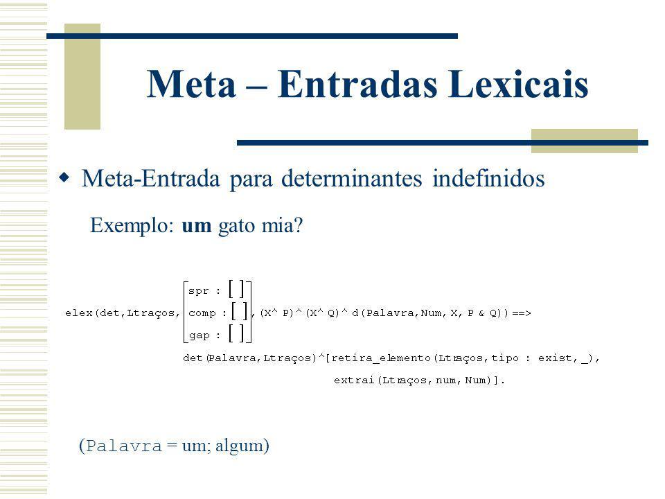 Meta – Entradas Lexicais Meta-Entrada para determinantes indefinidos Exemplo: um gato mia? ( Palavra = um; algum)