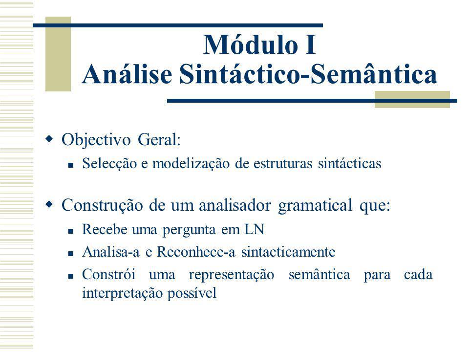 Módulo I Análise Sintáctico-Semântica Objectivo Geral: Selecção e modelização de estruturas sintácticas Construção de um analisador gramatical que: Re