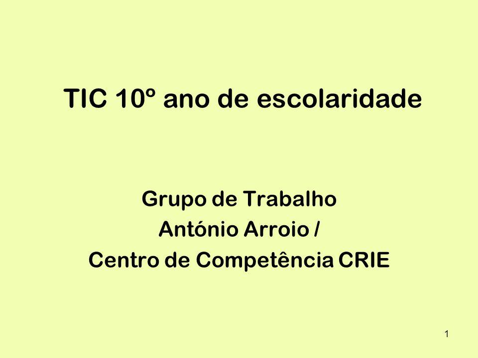 1 TIC 10º ano de escolaridade Grupo de Trabalho António Arroio / Centro de Competência CRIE