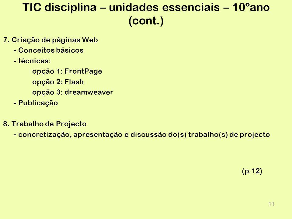 11 TIC disciplina – unidades essenciais – 10ºano (cont.) 7.