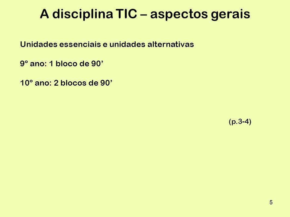 5 A disciplina TIC – aspectos gerais Unidades essenciais e unidades alternativas 9º ano: 1 bloco de 90 10º ano: 2 blocos de 90 (p.3-4)