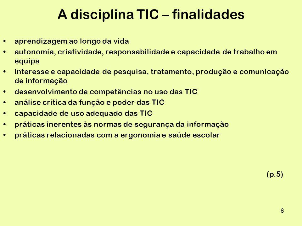 17 TIC disciplina – unidades essenciais – 9ºano 1.