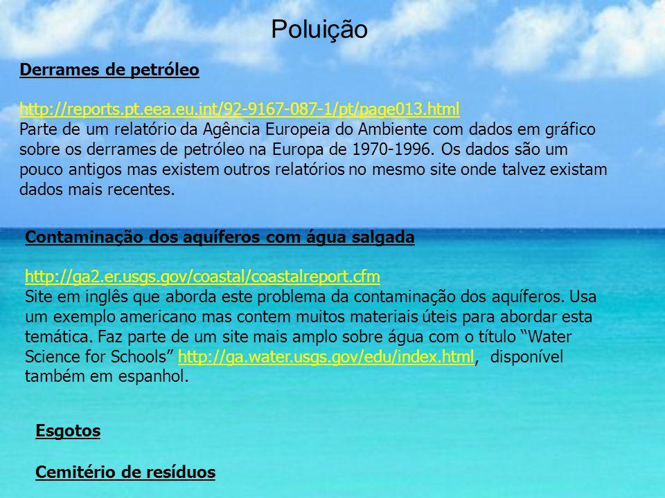 Poluição Derrames de petróleo http://reports.pt.eea.eu.int/92-9167-087-1/pt/page013.html Parte de um relatório da Agência Europeia do Ambiente com dad