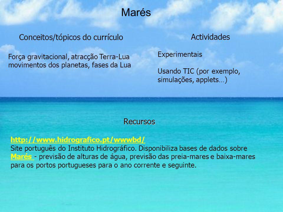 Marés Recursos http://www.hidrografico.pt/wwwbd/ Site português do Instituto Hidrográfico. Disponibiliza bases de dados sobre Marés - previsão de altu