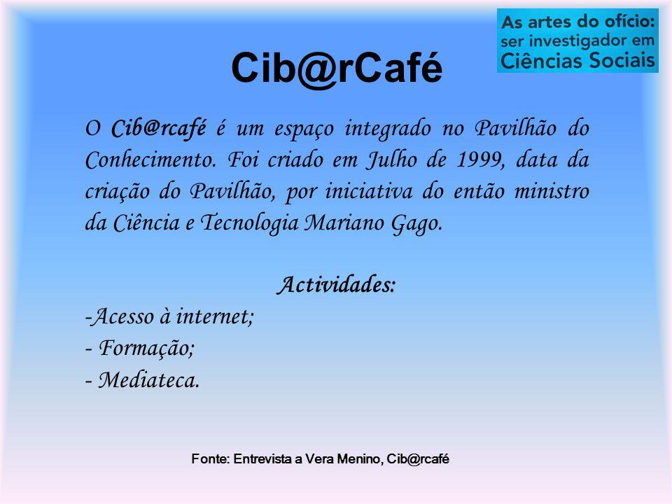 Cib@rCafé O Cib@rcafé é um espaço integrado no Pavilhão do Conhecimento.