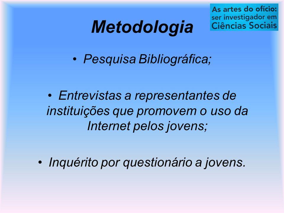 Metodologia Pesquisa Bibliográfica; Entrevistas a representantes de instituições que promovem o uso da Internet pelos jovens; Inquérito por questionário a jovens.