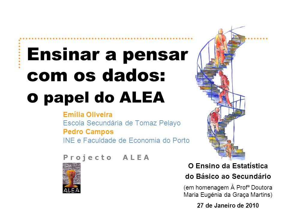 Ensinar a Pensar com os Dados – Emília Oliveira Pedro Campos ActivALEA 14 Considera a seguinte afirmação: Na semana considerada, a TVI manteve a liderança das audiências em Portugal, perdendo apenas num dos dias, para a SIC.