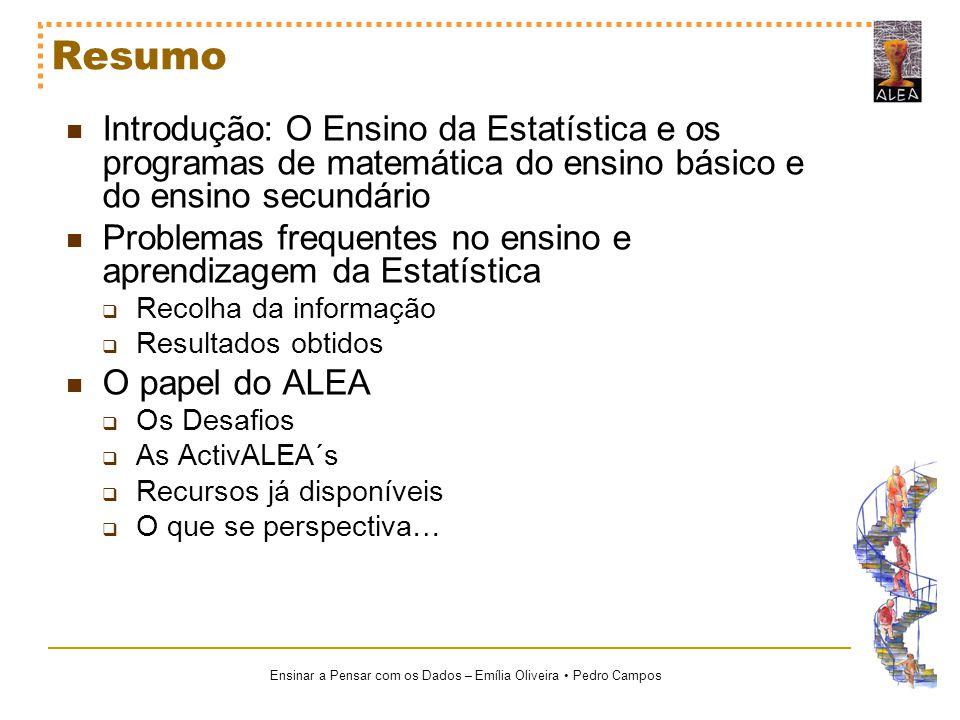 Ensinar a Pensar com os Dados – Emília Oliveira Pedro Campos Resumo Introdução: O Ensino da Estatística e os programas de matemática do ensino básico