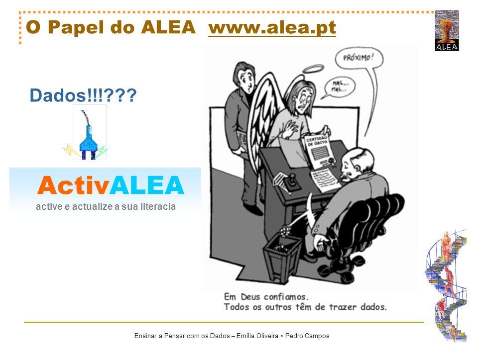 Ensinar a Pensar com os Dados – Emília Oliveira Pedro Campos ActivALEA active e actualize a sua literacia O Papel do ALEA www.alea.ptwww.alea.pt Dados