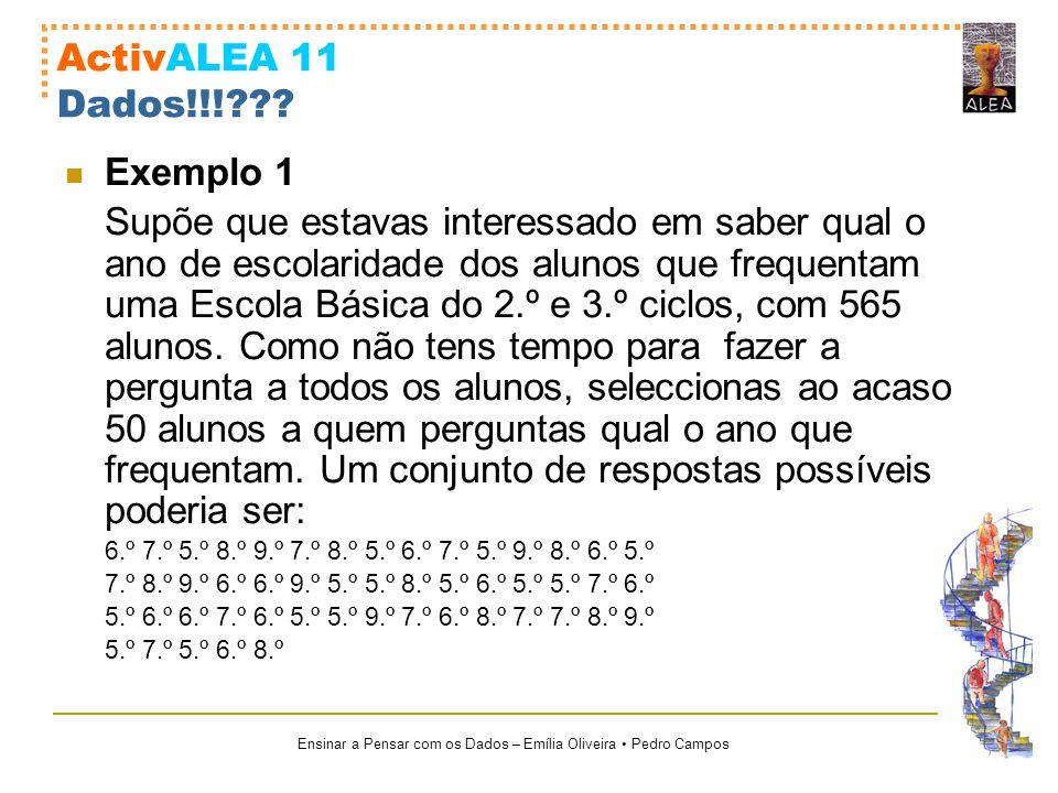 Ensinar a Pensar com os Dados – Emília Oliveira Pedro Campos ActivALEA 11 Dados!!!??? Exemplo 1 Supõe que estavas interessado em saber qual o ano de e