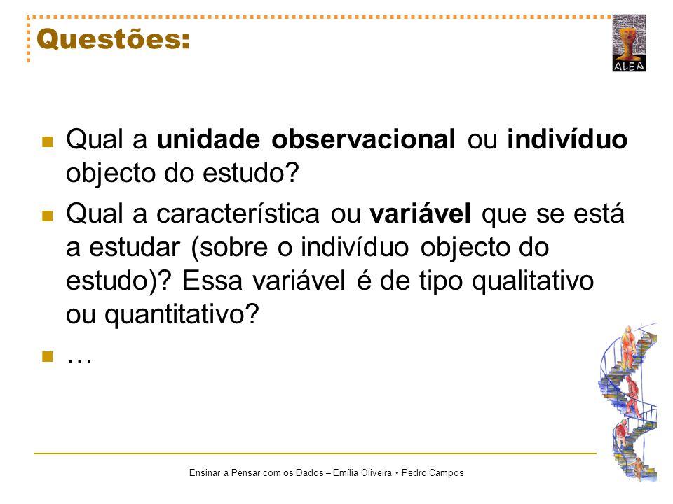 Ensinar a Pensar com os Dados – Emília Oliveira Pedro Campos Questões: Qual a unidade observacional ou indivíduo objecto do estudo? Qual a característ