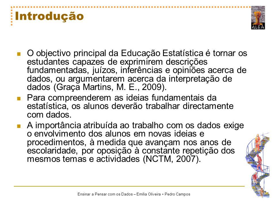 Ensinar a Pensar com os Dados – Emília Oliveira Pedro Campos Introdução O objectivo principal da Educação Estatística é tornar os estudantes capazes d