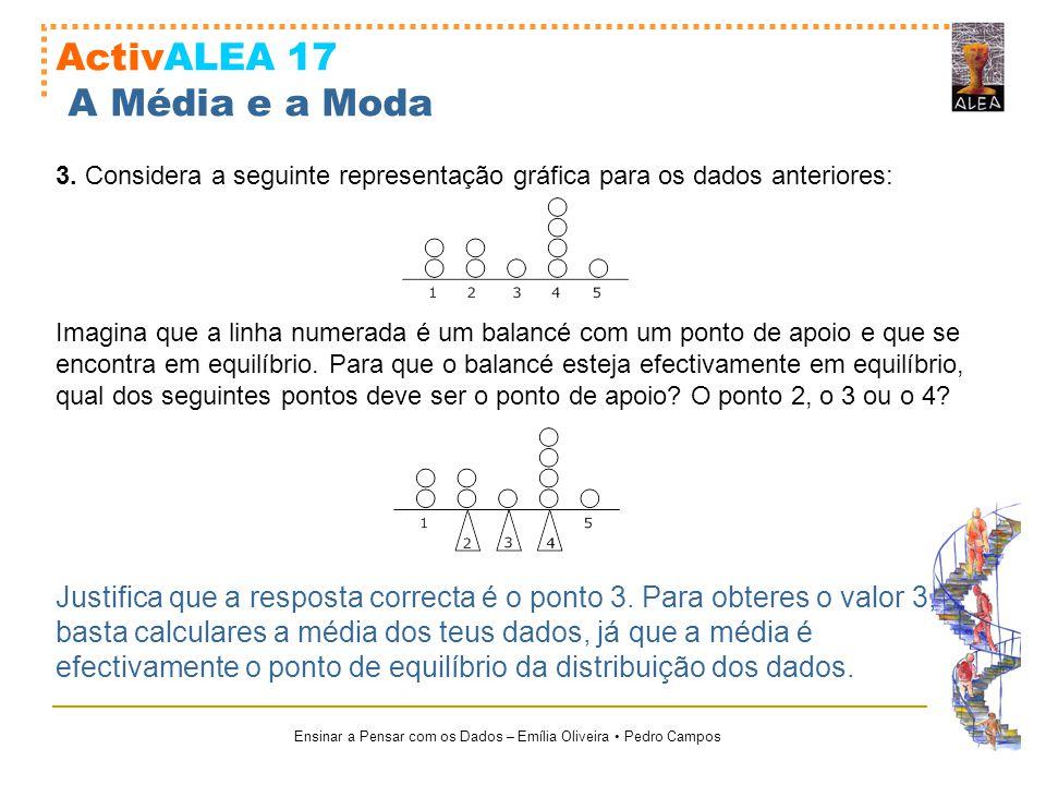 Ensinar a Pensar com os Dados – Emília Oliveira Pedro Campos ActivALEA 17 A Média e a Moda 3. Considera a seguinte representação gráfica para os dados