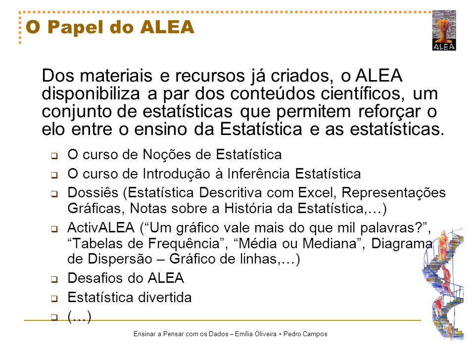 Ensinar a Pensar com os Dados – Emília Oliveira Pedro Campos O Papel do ALEA Dos materiais e recursos já criados, o ALEA disponibiliza a par dos conte