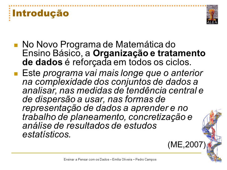 Ensinar a Pensar com os Dados – Emília Oliveira Pedro Campos Introdução No Novo Programa de Matemática do Ensino Básico, a Organização e tratamento de