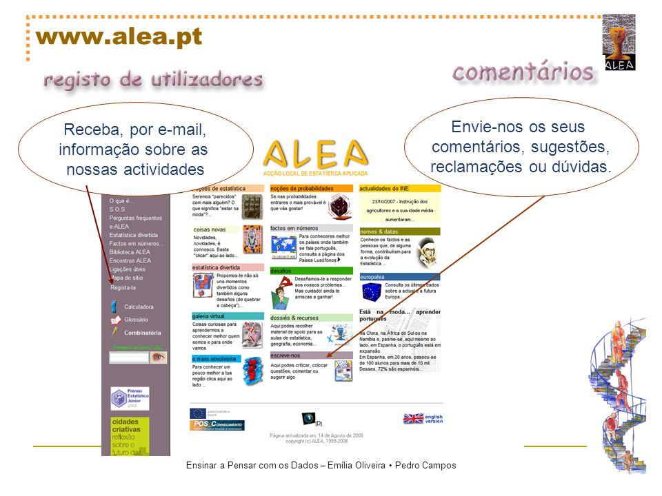 Ensinar a Pensar com os Dados – Emília Oliveira Pedro Campos www.alea.pt Receba, por e-mail, informação sobre as nossas actividades Envie-nos os seus