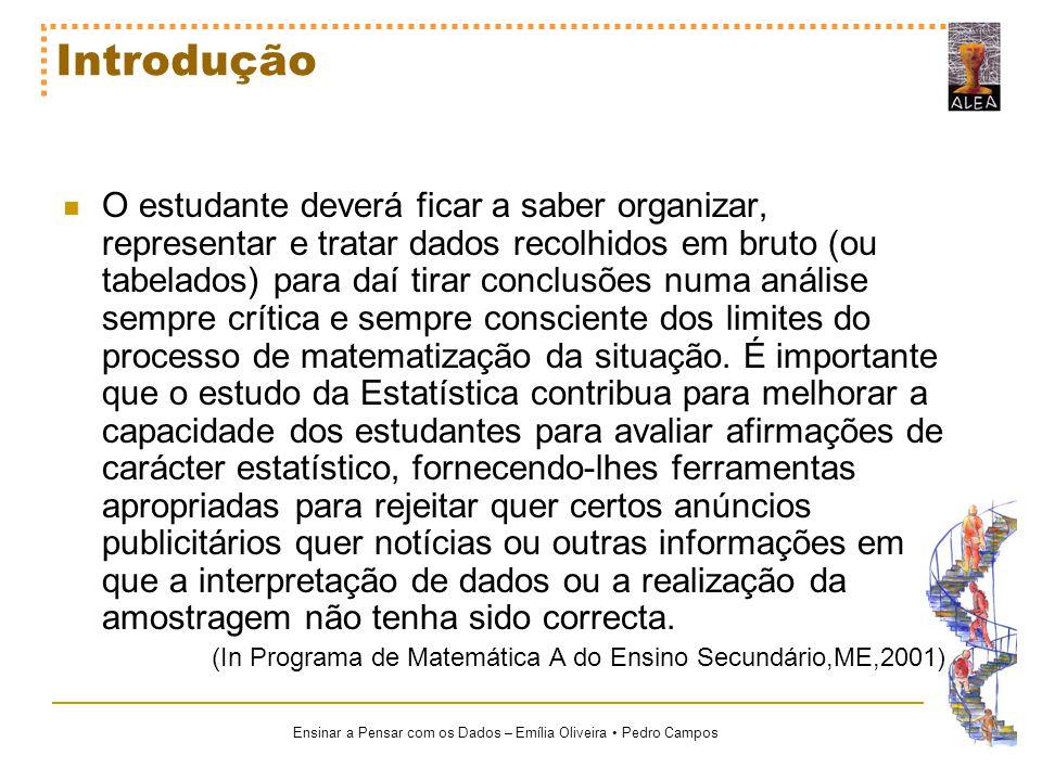 Ensinar a Pensar com os Dados – Emília Oliveira Pedro Campos Problemas frequentes no ensino e aprendizagem da Estatística Pouca sensibilidade para lidar com conjuntos de dados; Reflexo da aprendizagem da estatística, baseada em cálculos rotineiros, em vez de se apostar numa orientação para o trabalho com dados.